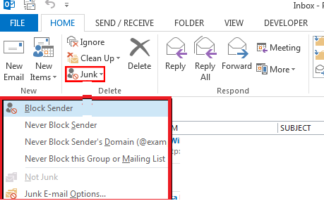 outlook 2016 configure junk emals sender list