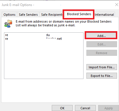 outlook blocked senders