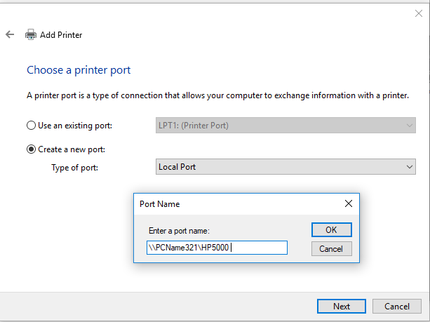 add a shared network printer via unc printer name
