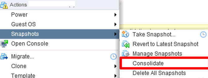 consolidate snapshots in the vcenter console