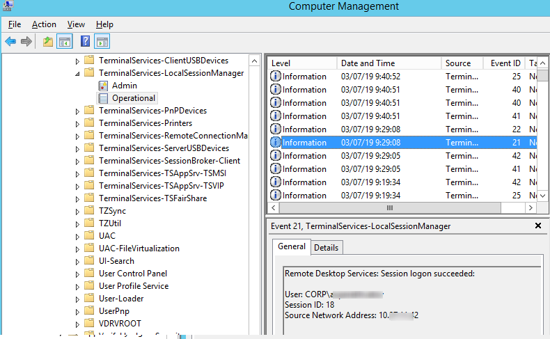 EventID 21 - Remote Desktop Services: Session logon succeeded