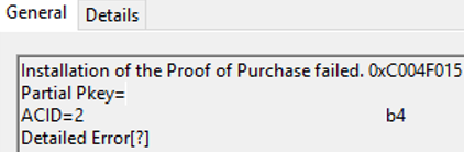 Installation of the Proof of Purchase failed. 0xC004F015