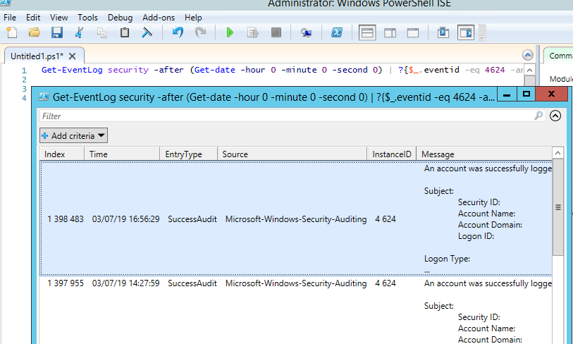 list sucess rdp auth event with an EventID 4624