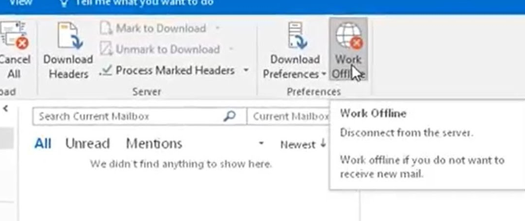 outlook 2016 work online button