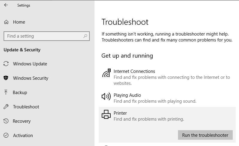 printer troubleshooter in windows 10
