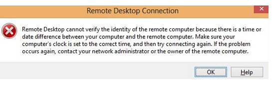 Remote Desktop cannot verify the identity of the remote computer because there is a time or date difference between your computer and the remote computer