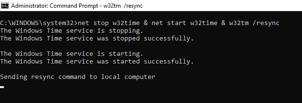 restart w32time service