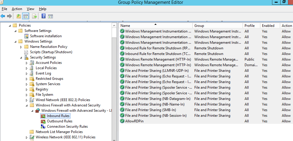 configuring windows firewall inbound rules via gpo