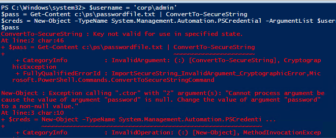 ConvertTo-SecureString : Key not valid for use in specified state