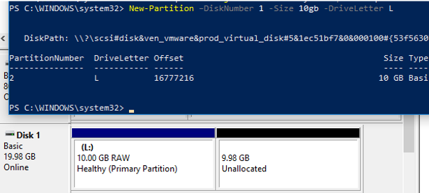 create disk partition with powershell