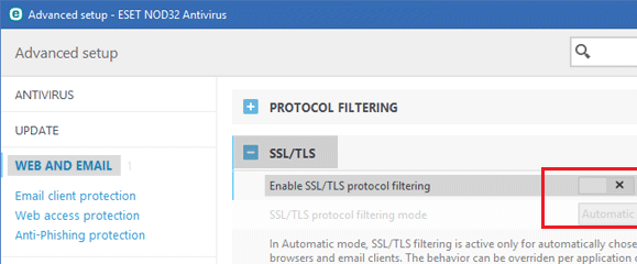 disable SSL/TLS protocol filtering in NOD32 Antivirus