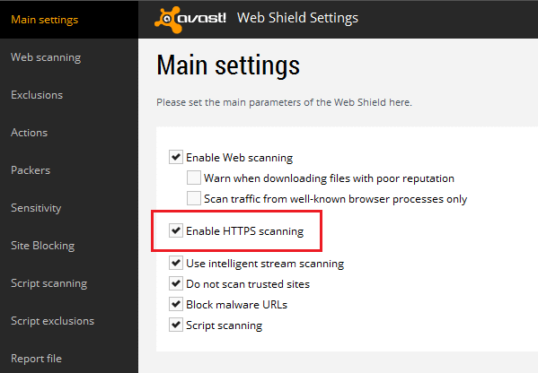 Enable HTTPS scanning option in avast