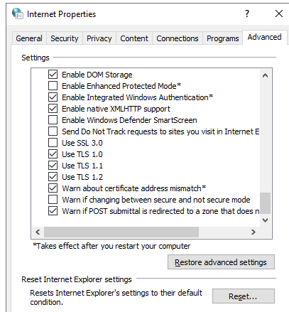 enable tls 1.0, tls 1.1 and tls 1.2 in windows 10