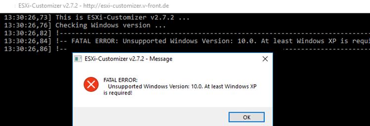 ESXi-Customizer FATAL ERROR: Unsupported Windows Version: 10.0