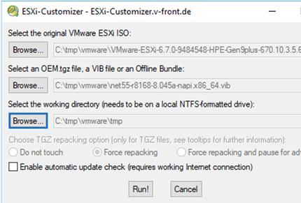ESXi-Customizer GUI Tool