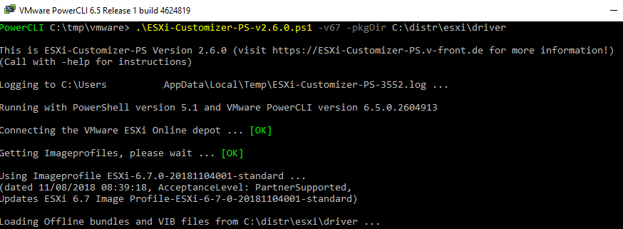 ESXi-Customizer-PS add vib drivers to the esxi image