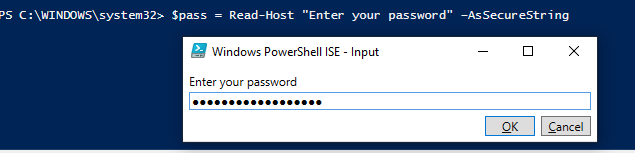 get password AsSecureString in powershell script with read-host