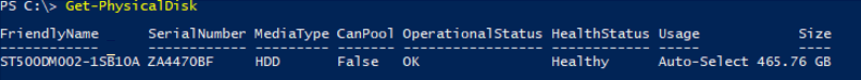 Get-PhysicalDisk info from powershell