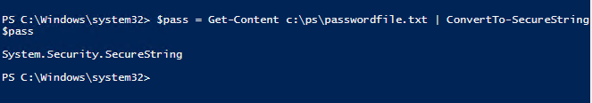 get securestring from password file with aes key