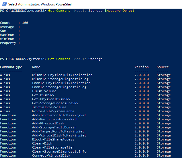 local storage (disk, partition)management module in windows powershell