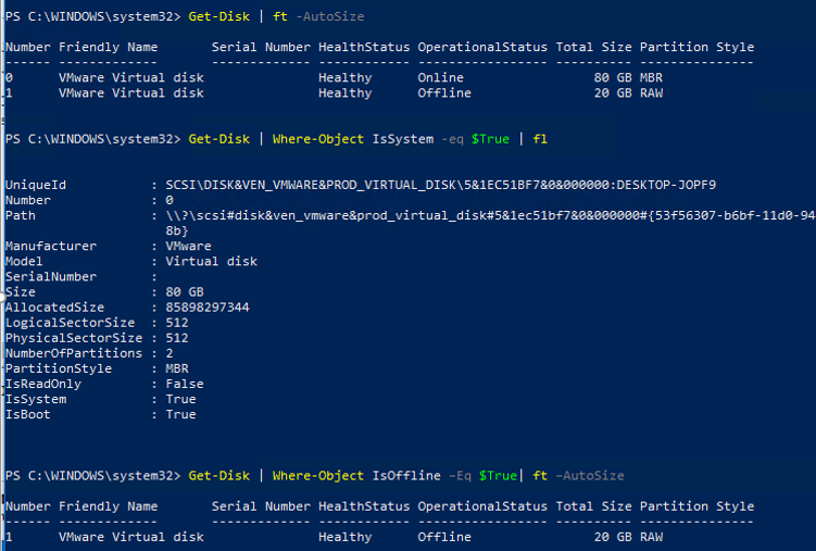 powershell Get-Disk offline and system