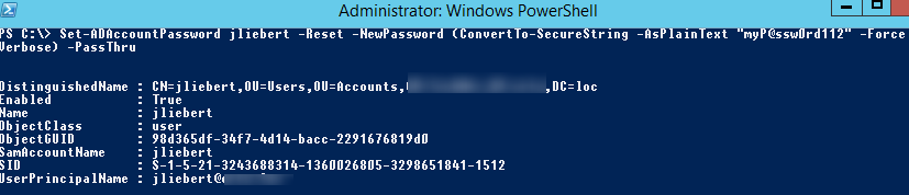 Set-ADAccountPassword - reset the ad user password from powershell