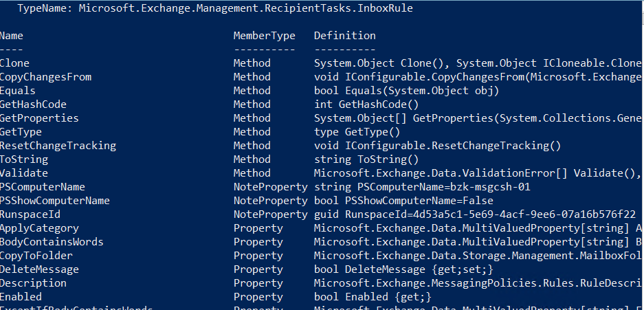 TypeName: Microsoft.Exchange.Management.RecipientTasks.InboxRule