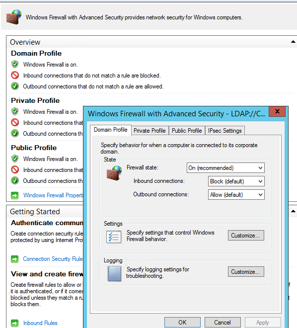 windows firewall with advanced security settings via group policy