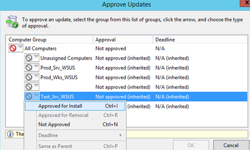 approve update for install