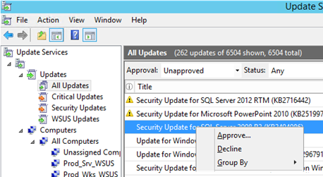 approve update in wsus manually