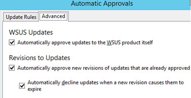 automatically approve updates to the wsus product itself