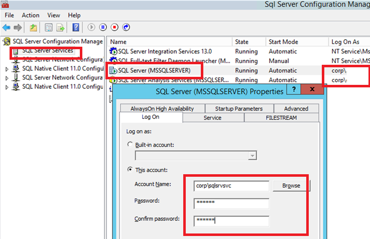 Changing The SQL Server Service Account In SQL
