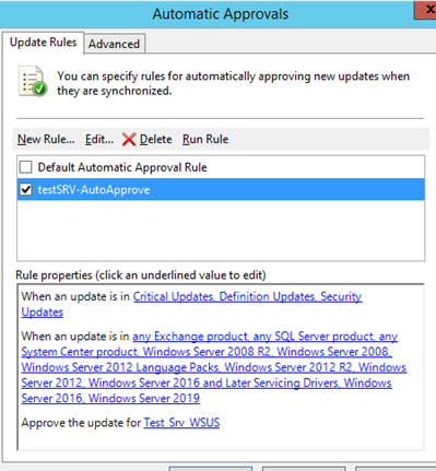 configure new automatic approval rule for test group