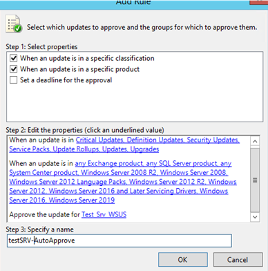 configure wsus auto-approval rule