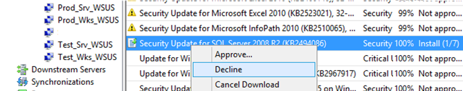 decline update in wsus