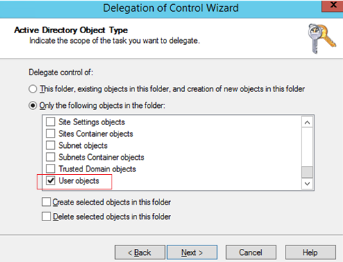 delegation control wizard - user objects