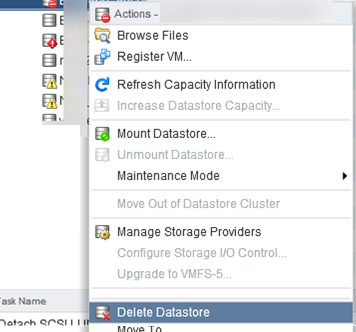 Delete Datastore on vmware esxi host