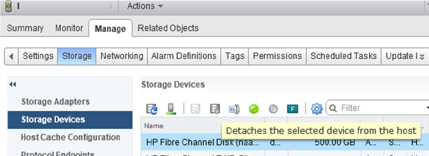 Detaches the selected LUN device from the vmware esxi host