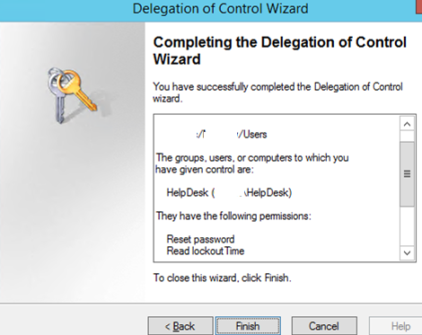 finish delegation control wizard