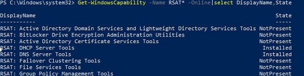 get-windowscapability: list installed rsat items with powershell