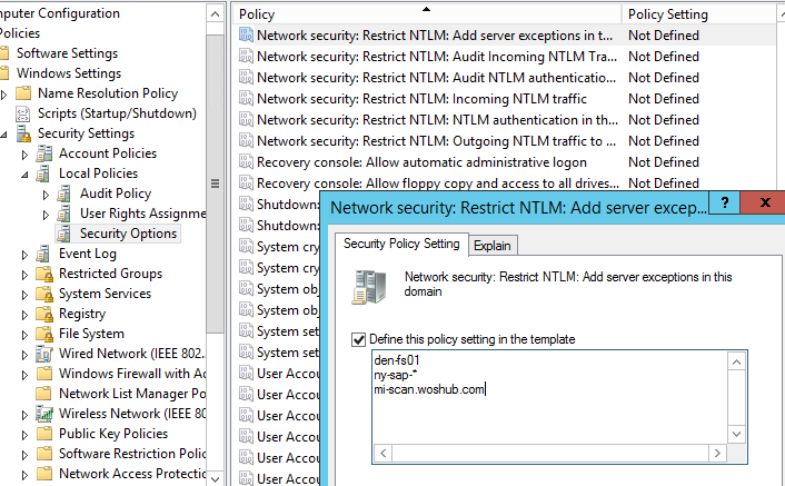 GPO: Network security: Restrict NTLM: Add server exceptions for NTLM authentication in this domain