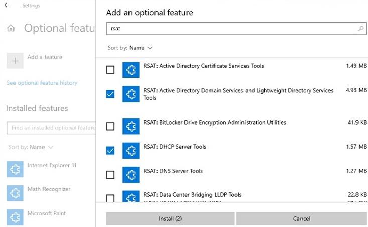 install rsat via optonal features in windows 10