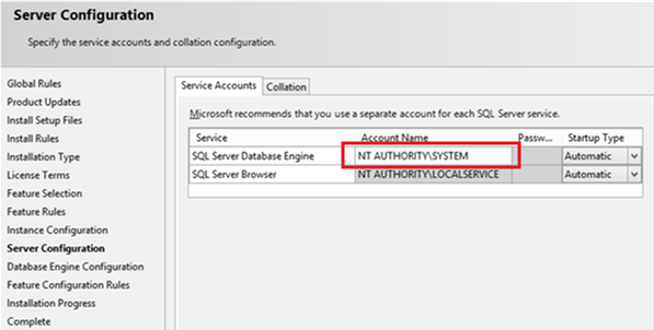 install Sql Server under NT AUTHORITY\SYSTEM