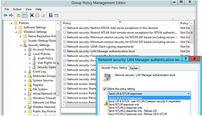 Network Security: LAN Manager authentication level - disable ntlm v1 and lm