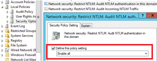 Network Security: Restrict NTLM: Audit NTLM authentication in this domain