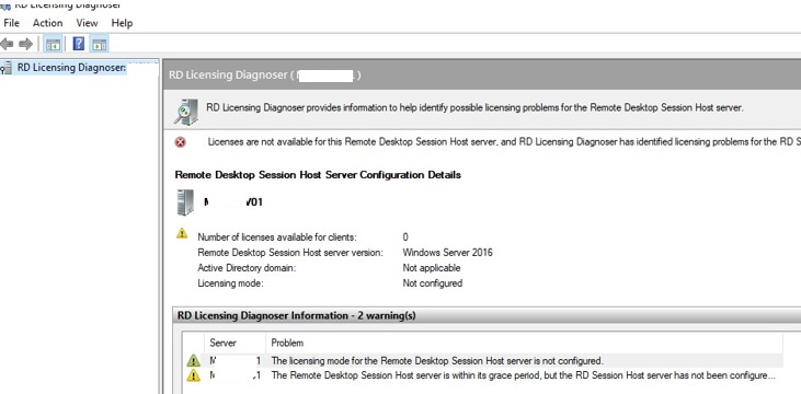 rds licensing diagnoser licenses are not available