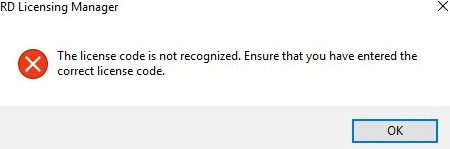 rds license code is not recognized