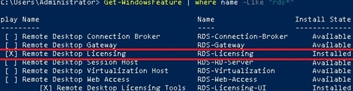 rds licensing role install with powershell