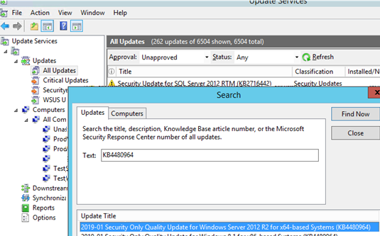 search for update in wsus console