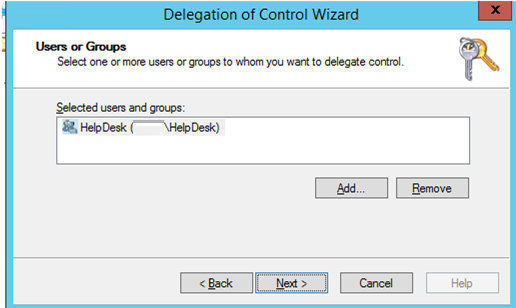 select an AD group to who you want to delegate control